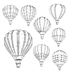 Flying hot air balloons sketches vector image