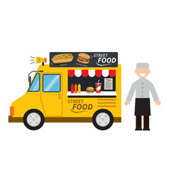 Food truck hamburgerhot dog street food vector