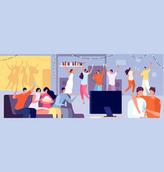 friends home party apartment evening young teens vector image