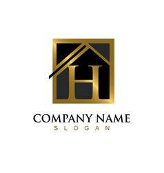 Gold letter h house logo vector