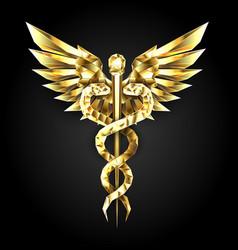 gold polygonal symbol caduceus vector image