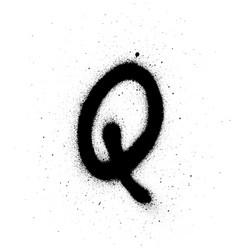 Graffiti thin q font sprayed in black over white vector