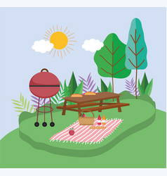 Grilled bbq table blanket basket food picnic in vector