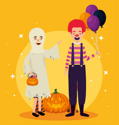 halloween card with ghost disguise and clown vector image