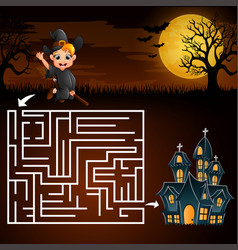 Halloween maze games find the boy witch to the gho vector