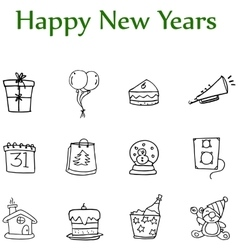 Hand draw of new year element icons vector image