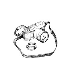 hand drawn of digital camera on white background vector image