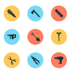 handtools icons set with measurement pliers vector image