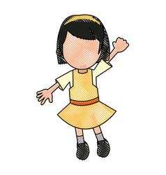 Happy girl cartoon character fun vector