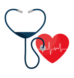 Heart cardio with stethoscope vector