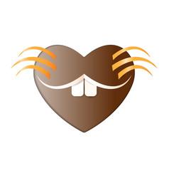 heart happy groundhog day smile marmot icon paper vector image