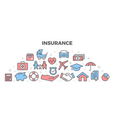 insurance with icons vector image