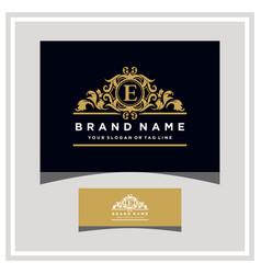 Letter e logo design concept royal luxury gold vector