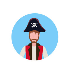 Man wearing pirate costume face avatar happy vector