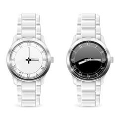 Men wrist watches with metal bracelet clockface vector