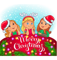 Merry christmas greeting card with cute kids vector