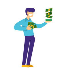 millionaire or rich man holding dollar bills in vector image