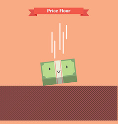 money bill falling limit by price floor vector image
