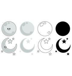 moon set on white vector image