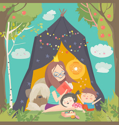 Mum and her kids reading book in a tepee tent in vector