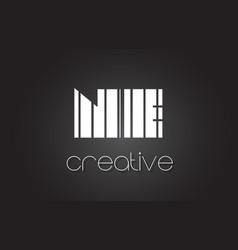 Ne n e letter logo design with white and black vector