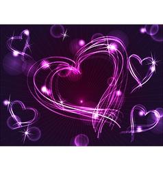 Neon or plasma purple hearts vector