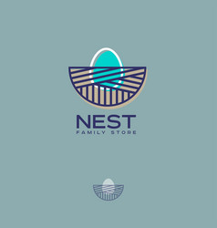 Nest logo family store egg vector