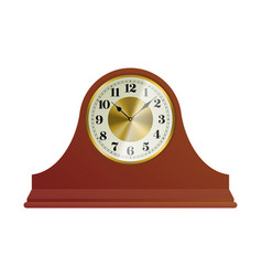 Old wooden table clock with round dial vector