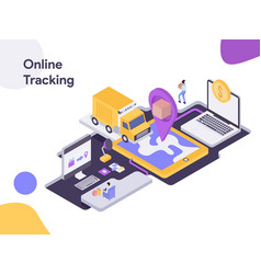Online delivery tracking isometric modern flat vector