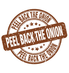 Peel back the onion brown grunge stamp vector