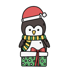 penguin with hat and gift box decoration merry vector image