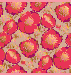 Peony flowers tile motif with golden and pink vector