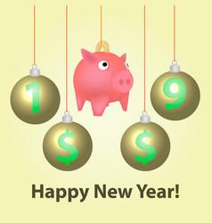 piggy bank with christmas balls vector image