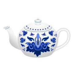 Porcelain teapot for tea set ornate vector