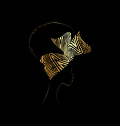 portrait african woman wears turban for curly hair vector image