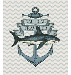 retro banner with ship anchor and hand drawn shark vector image