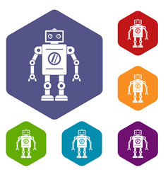 Retro robot icons set hexagon vector