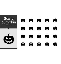 Scary pumpkin icons solid design for presentation vector