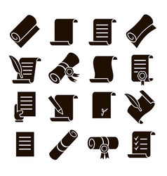 scrolls and papers classic icons set vector image