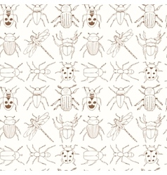 seamless pattern with doodle sketch bugs vector image