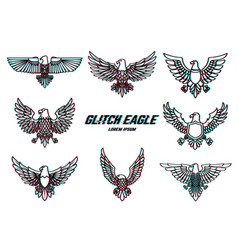 set of eagle in line style with glitch effect vector image