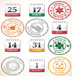 set of stamps and calendars vector image vector image
