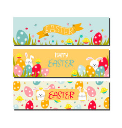 set three horizontal easter cards vector image