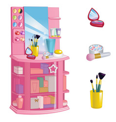 Showcase with cosmetics perfume and makeup items vector