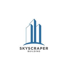 skyscraper logo design template vector image