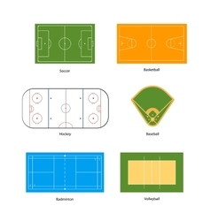 Sport fields marking for soccer basketball vector