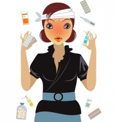 stressed girl suffering from flu vector image