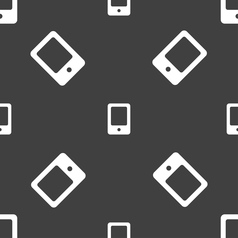 Tablet icon sign Seamless pattern on a gray vector image