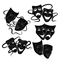 Tragedy and comedy theater masks set collection vector