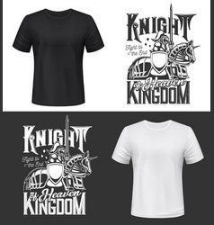 tshirt print with knight riding horse with sword vector image
